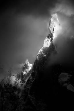 Argentinien Los Glaciares Nationalpark Cerro Torre Schwarzweiß