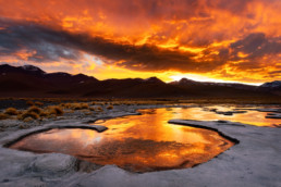Sturm Sonnenuntergang Laguna colorada Altiplano Bolivien