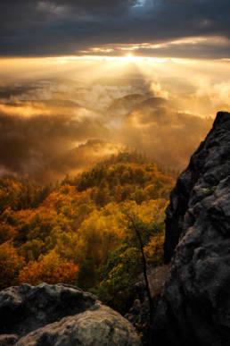Deutschland Sächsische Schweiz Prebischtor Sonnenuntergang