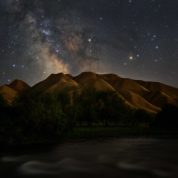 Kirgistan Farbenfrohe Milchstrasse Monduntergang