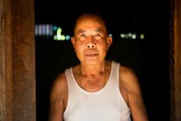 Laos Bauer Zuhause Warmes Licht