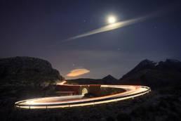 Mallorca Haarnadelkurve Sa Calobra Lichtspur