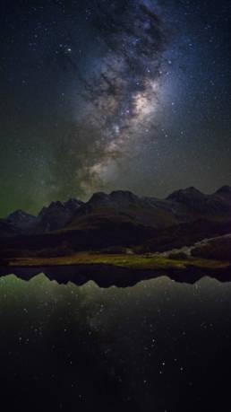Neuseeland Milchstraße Südalpen Spiegelung