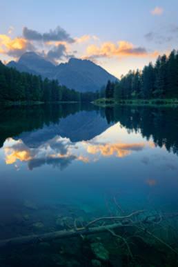 Schweiz Palpuognasee Sonnenuntergang Spiegelung